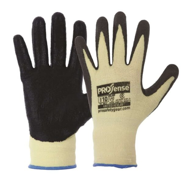 13 Gauge Knitted Kevlar With Black Nitrile Palm Gloves - gloves