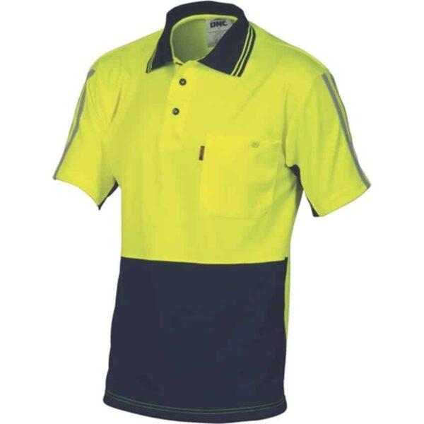 175gsm HiVis Cool-Breathe Stripe Short Sleeve Polo - polo