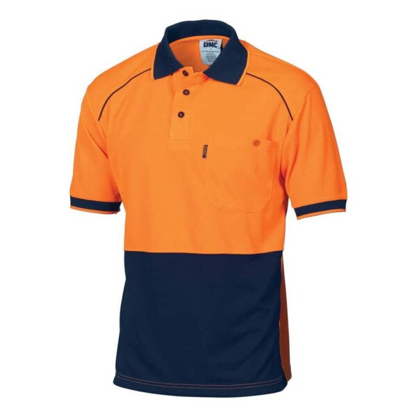 175gsm HiVis Short Sleeve Front Piping Polo - polo