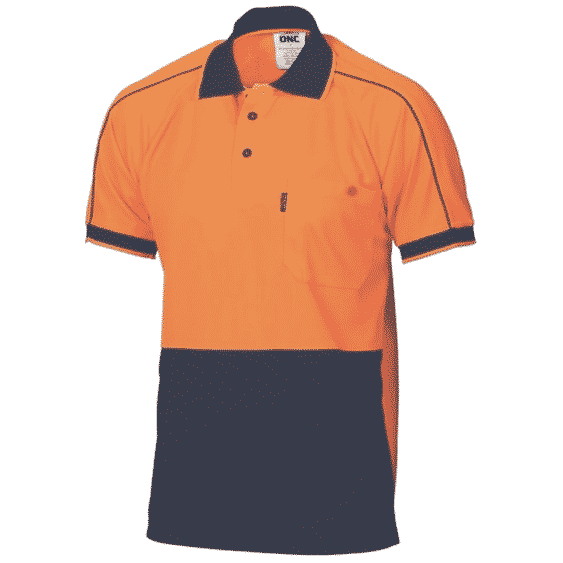 175gsm HiVis Double Piping Short Sleeve Polo - polo