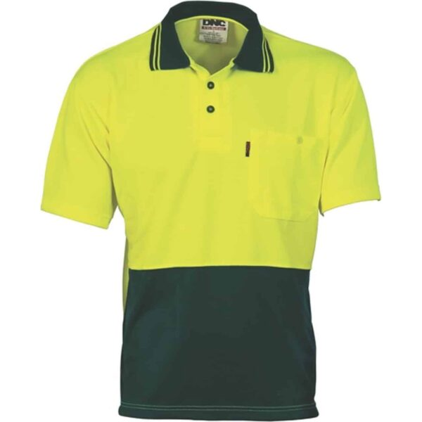 175gsm HiVis Two Tone Cool Breathe Short Sleeve Polo - polo