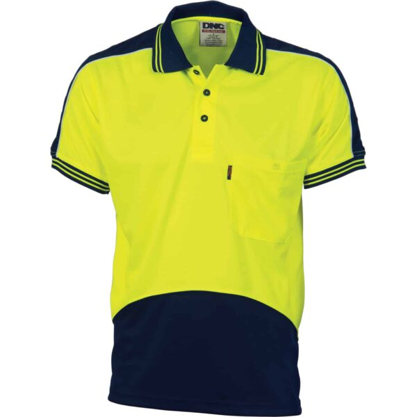 175gsm HiVis Panel Short Sleeve Polo Shirt - polo