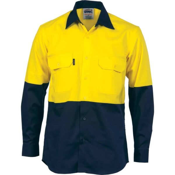 155gsm HiVis Long Sleeve Shirt with Vents - hivis