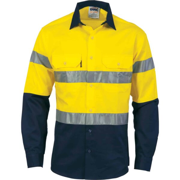 155gsm HiVis Long Sleeve Shirt with Vents & Tape - tape